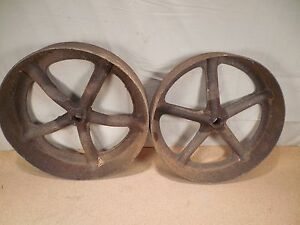 Two 2 Cast Iron Spoked Wheels For Antique Cole Horse Drawn Corn Seed Planter