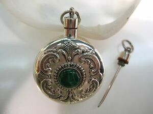 Sterling Silver Perfume Bottle Round Engraving Vintage Design W Malachite