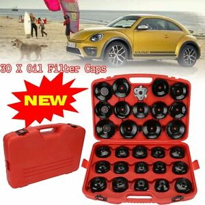 30pcs Cup Type Oil Filter Cap Wrench Socket Removal Tool Set W Case 3 8 Drive V