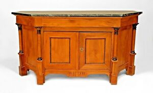 Italian Empire Neo Classic 19th Cent Fruitwood Sideboard Cabinet