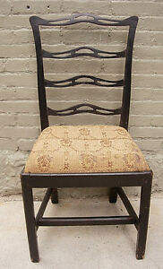 Antique Chippendale Ribbon Back Chair Early Paint C 1780
