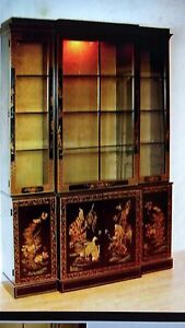 Et Cetera By Drexel Asian China Display Cabinet Black Lacquer Style Chinoiserie