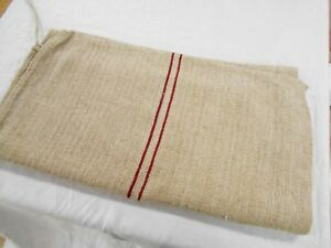 22x47 Vtg Antique Red Stripe Nubby Hemp Linen Fabric Feed Sack Grain Bag