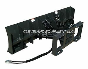 New 84 Snow Plow Dozer Blade Attachment Skid Steer Loader Hydraulic Angle 7