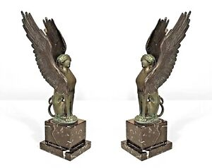 Pair Of French Empire Style 19 20th Cent Bronze Winged Sphinx Figure Bookends