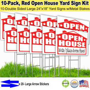 10 Pack open House 18x24 Yard Lawn Sign Kits