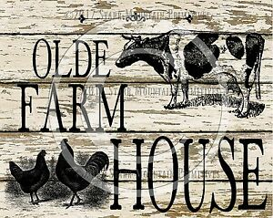 Primitive Cow Chicken Rooster Dairy Farmhouse Farm Chic Print 8x10