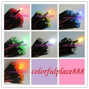 3mm 9v 12v Pre wired Red Yellow Blue Green Warm White Orange Diffused Led 20cm