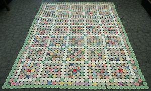1920s Colorful Hand Stitched Cotton Tufted Yo Yo Quilt White Blocks Green Border