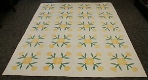 C1920 Yellow Tulips Crossed Stems Quilt Appliqu Hand Stitched Cotton 96 X 78