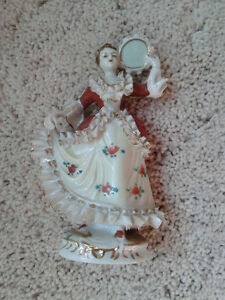 Japanese Porcelain Figure Woman With Tambourine About 5 1 4 Tall Japan