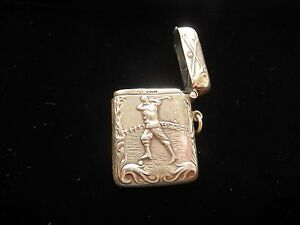 Solid Sterling Silver Hallmarked Golf Vesta Case Match Safe