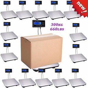10x 660lbs Digital Floor Bench Scale Steel Platform Shipping Postal Pet 300kg E1