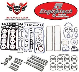 Enginetech Chevy Sbc 350 5 7 Re Ring Rebuild Kit With Main Bearings 1986 1995