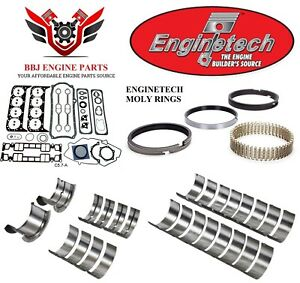 Enginetech Chevy Sbc 350 5 7 Re Ring Rebuild Kit With Main Bearings 1996 2002
