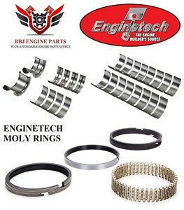Enginetech Chevy Sbc 327 350 Rod And Main Bearings With Moly Piston Rings 68 95