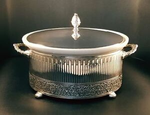 Reed Barton 1174 Renaissance Pattern Silver Plate Covered Footed Casserole