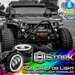 70w 7000lm Led Rgb Million Color App Bluetooth Halo Fog Lights Jeep Wrangler