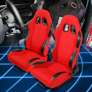 Red Black Reclinable Woven Fabric Type R Sport Racing Seats W Universal Sliders