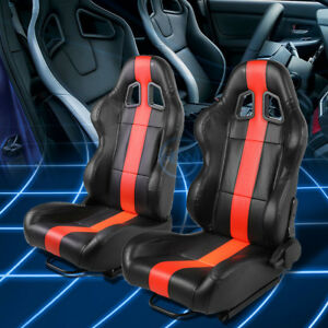 Black thick Red Stripe Reclinable Pvc Leather Racing Seats W universal Sliders