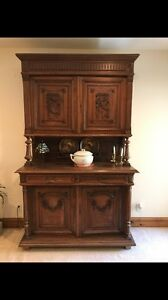 Original Large Antique French Carved Hunting Cabinet Buffett Renaissance 1890 S