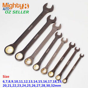 Ratchet Wrench Long Cr V Ratcheting Combination Ring Open End Spanner 6 32mm
