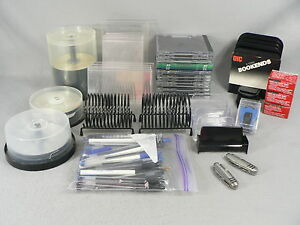 Office Supplies Lot Of Misc Items Pens Discs Dvd Cd s Mail Sorters Card Holders