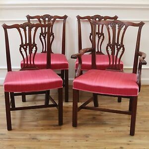 Antique Carved Mahogany Chippendale Style Dining Chairs Set Of 4