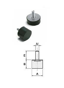 Anti vibration Damper Mounting dia 6mm 40mm Male rubber dimension pack