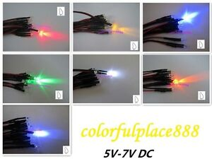 3mm 5v Candle Flicker Pre wired Red Yellow Blue Green White Orange Uv Led 20cm