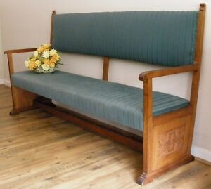 Antique English Victorian Carved Mahogany Upholstered Bench Settle Church Pew