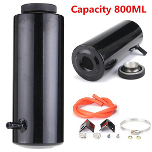 Universal Radiator Coolant Aluminum Catch Tank Overflow Reservoir Black 800ml