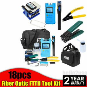 18pcs Fiber Optic Ftth Tool Kit W fc 6s Fiber Cleaver optical Power Meter Finder