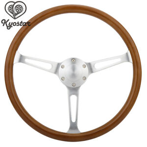 15inch Wooden Grain Silver Brushed Spoke Steering Wheel Classic Wood Horn Kit