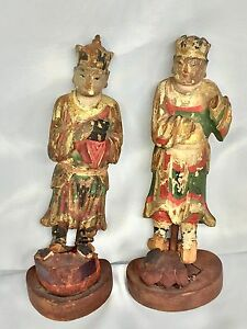 Two 7 Antique Very Old Chinese Wood Hand Painting Gold Household Gods Statue