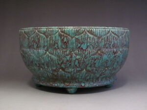 Rare Chinese Marked Yao Bian Lu Jun Green Glaze Carved Porcelain Bowl