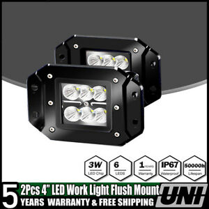 2x 4 Inch Flush Mount 6 Led Work Light Brake Truck Rv Trailer Grommet Tail Light
