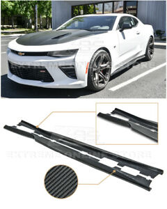 For 16 up Camaro Ss Rs T6 Style Carbon Fiber Side Skirts Rocker Panels Pair