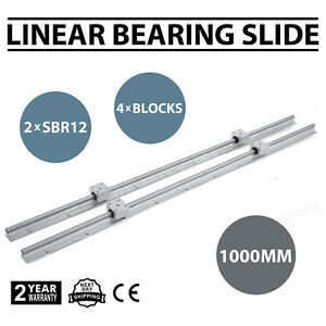 2xsbr12 1000mm Linear Rail Slide Guide Rod 4sbr12uu Block Set Aluminium Bearing