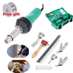 1600w Hot Air Torch Plastic Welding Heat Gun Pistol Pvc Welder Tool W 4 Nozzle
