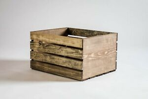 Medium Stained Rustic Wood Crates Boxes New Hand Made