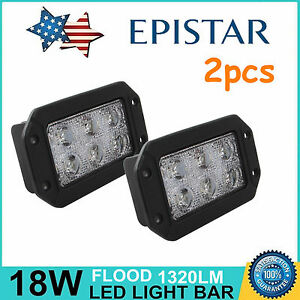 2x 6inch 18w Flush Mount Flood Led Work Light Off Road Jeep Truck Suv Rectangle