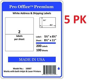 5 Pack Pro Office Premium 200 Half Sheet Self Adhesive Shipping Labels