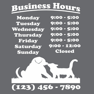 Custom Business Store Hours Vinyl Window Decal 11x14 Sticker Sign Glass Door
