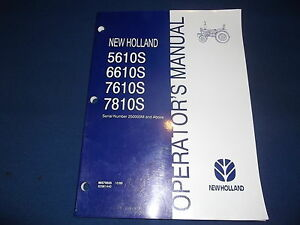 New Holland 5610s 6610s 7610s 7810s Tractor Operation Maintenance Book Manual