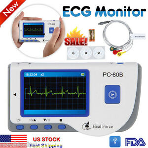 Portable Ecg Heart Monitor Heal Force Fda Color Lcd 50 Electrode Pads Lead Cable