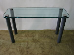 Rare Pace Console Sofa Table By Leon Rosen Marbilized Legs Heavy Glass Top
