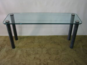 Pace Console Sofa Table By Leon Rosen Marbilized Legs Heavy Glass Top Rare