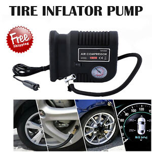 Air Compressor Portable Pump Auto Car Suv Tire 12v Volt 3 Adapters Usa Eg