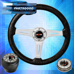 Metallic Black Steering Wheel Gunmetal Quick Release Hub For 92 96 Prelude